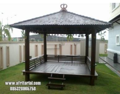Gazebo Taman Minimalis Kayu Glugu