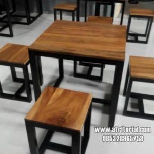 Kursi meja cafe minimalis rangka besi dan kayu jati