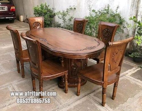 Kursi meja makan jati murah warna natural melamic polos tanpa jok kursi
