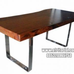 Meja makan kayu trembesi solid jepara kaki stainless