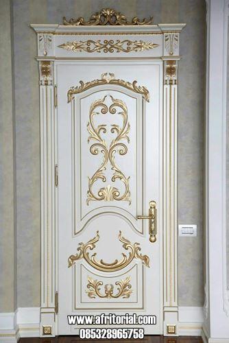 Pintu Kamar Klasik Ukiran Jepara Warna Gold