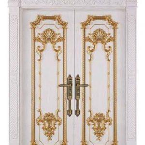Pintu Klasik Mewah Cat Duco Warna Putih Ukiran Jepara