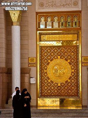 Model Pintu Masjid Nabawi Tanpa Logam Kuningan Ukiran Jepara