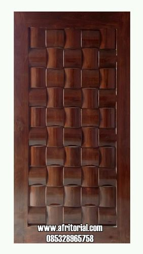 Pintu Ukir Anyaman Tikar Kayu Jati Desain 3D