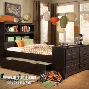 Tempat Tidur Anak Sorong Laci Minimalis 2 Kasur