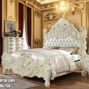 Tempat Tidur Ukir Mewah Cat Duco Putih