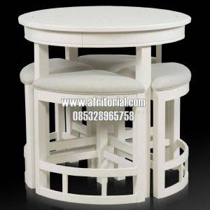 kursi dan meja makan cafe bundar minimalis untuk coffee shop dan kedai mie modern