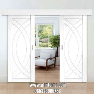 pintu utama geser double terbaru minimalis