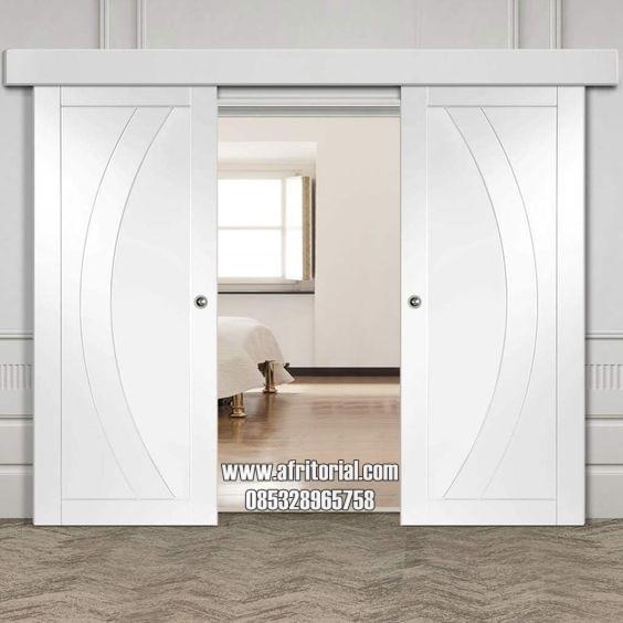 pintu utama sliding atau geser double minimalis