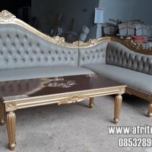 KURSI SOFA SOFA SUDUT SIMPLE set dudukan 3.2+meja finishing duco gold