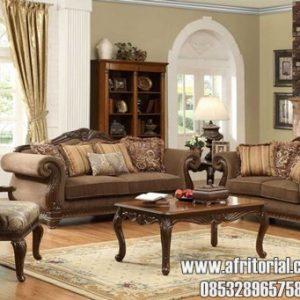 Kursi Tamu Model Sofa Klasik Finishing Salak Brown Doff Formasi 312 + meja + kenep Bonus 6 bantal