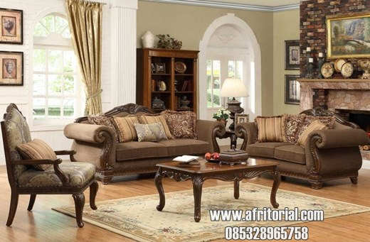 Kursi Tamu Model Sofa Klasik Finishing Salak Brown Doff Formasi 312 + meja + kenep Bonus 6 bantal