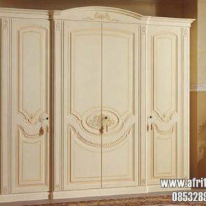 Lemari Baju Model 4 Pintu Putih Bersih Bahan Kayu