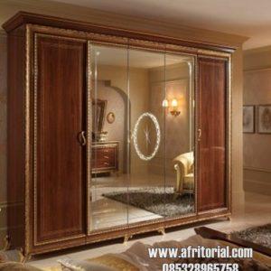 Lemari Wardrobe 5 Pintu Dengan Kaca Besar