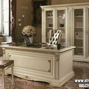 Set Meja Kantor Minimalis Modern Warna Putih