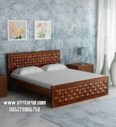 Tempat Tidur Jati Minimalis Motif Terbaru Anyaman Tikar