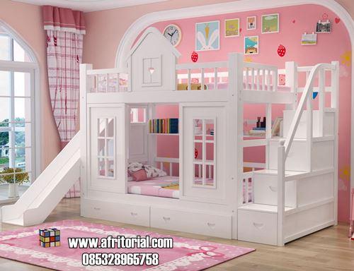 Tempat Tidur Susun Model Perosotan Warna Putih