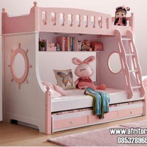 Tempat Tidur Tingkat Mewah Anak Perempuan Warna Pink Putih