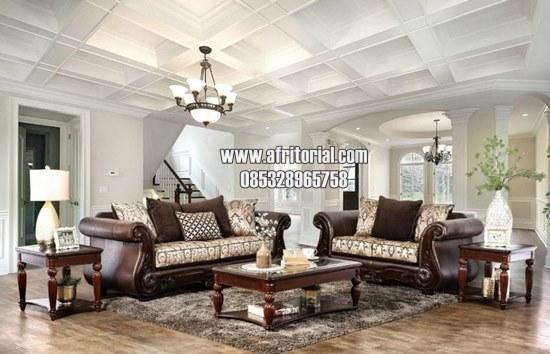 kursi tamu sofa klasik set 321 + meja+ 2 kenep finishing salak brown doff Bahan jok bisa request warna dan bahan