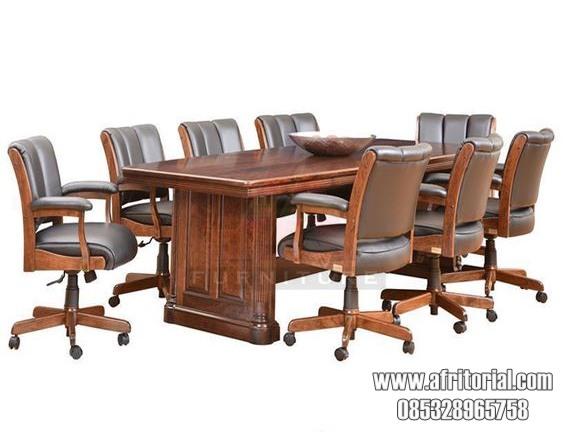 set meja rapat kayu jati lengkap dengan kursi jog nyaman