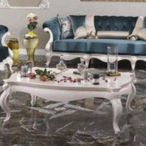 Kursi Sofa Klasik Finishing Duco Putih Formasi 321 + Meja