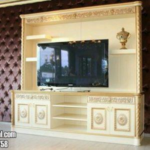Lemari Bufet Tv Mewah Warna Gold Kombinasi Krem