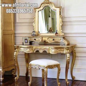 Meja Rias Sederhana Warna Emas Mewah Dengan Ukiran Jepara