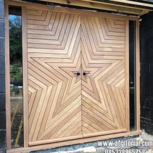 Pintu Kupu Tarung Model Bintang Minimalis Jepara