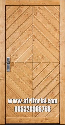 Pintu Rumah Alami Kayu Motif Persegi