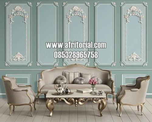 Set Kursi Sofa Ruang Tamu Mewah Lengkap Dengan Meja Ukir