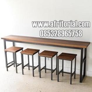 Set Meja Kursi Kantin Cafe Dan Bar Model Panjang