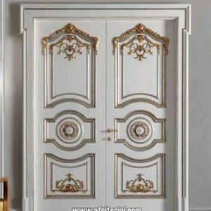 Kusen Pintu Rumah Mewah Cat Duco Putih Kombinasi Gold