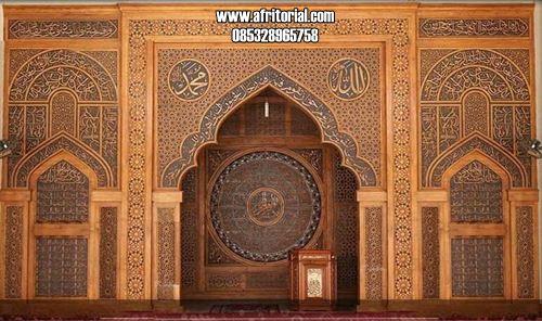 Mihrab Masjid Kayu Jati Motif Ukiran Kaligrafi Arab
