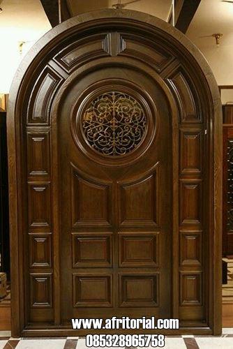 Pintu Utama 1 Daun Model Kusen Lengkung Kayu Jati