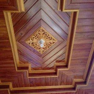 Plafon Kayu Ruang Tamu Rumah Mewah Motif Terbaru