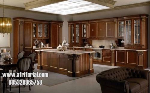 Kitchen Set Klasik Untuk Dapur Rumah Mewah Setting Rapi