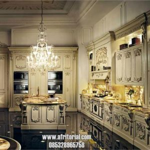 Kitchen Set Mewah Rumah Pejabat Bahan Kayu Ukiran Jepara