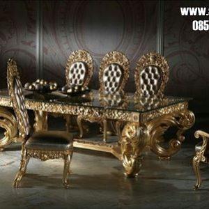 Meja Makan Klasik Mewah Model Eropa Kayu Jati