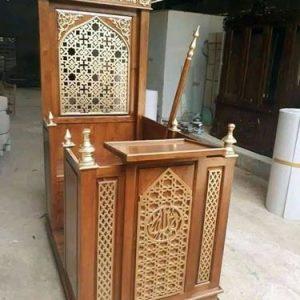 Mimbar Masjid Minimalis modern Kayu Jati Harga Murah