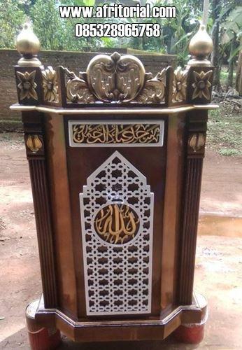 Mimbar Minimalis Untuk Tempat Imam Masjid Kayu Jati
