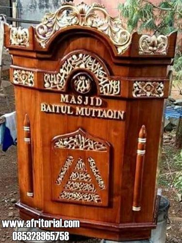 Mimbar Ukiran Kayu Jati Untuk Masjid Minimalis