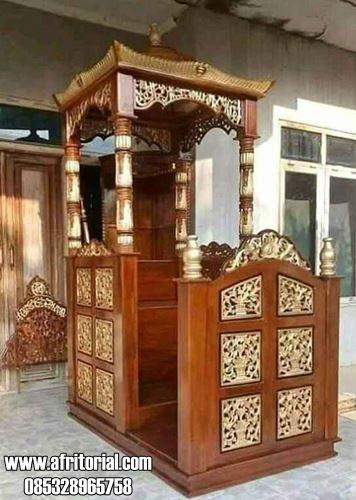 Model Mimbar Masjid Kubah Ukiran Kayu Jati