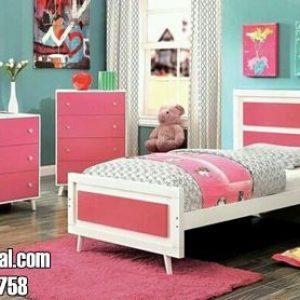 Set Kamar Anak Perempuan Warna Pink Putih Model Vintage