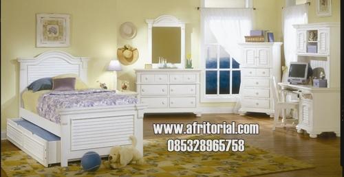 Set Tempat Tidur Anak Perempuan Remaja Cat Duco Putih