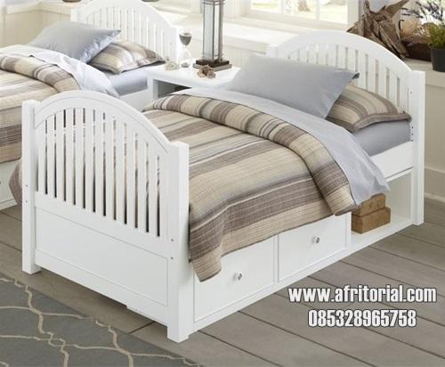 Tempat Tidur Anak Minimalis Laci Sorong Cat Duco Putih