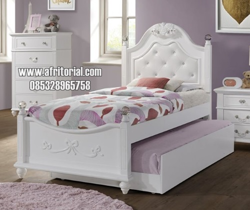 Tempat Tidur Anak Perempuan Modern Finishing Cat Duco Putih
