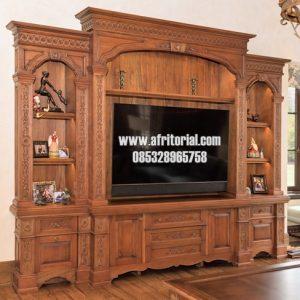 Bufet Tv Jati Model Eropa Klasik Mewah Ukiran Jepara Harga Lokal