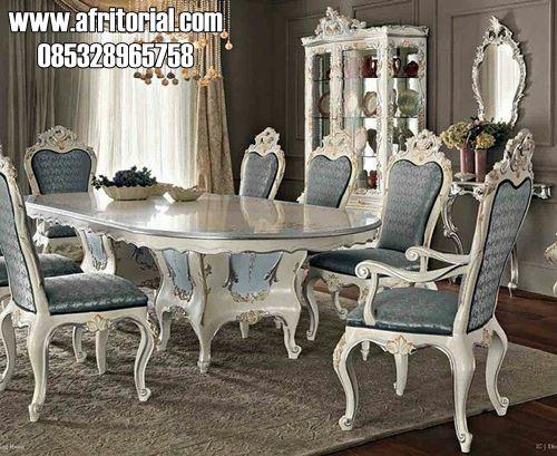 Set Meja Makan Klasik Ukiran Cat Duco Putih Mewah