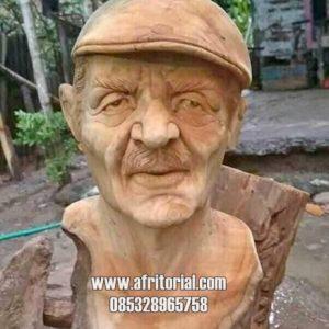 Jasa Pembuatan Patung Kayu Kepala Manusia Bisa Custom