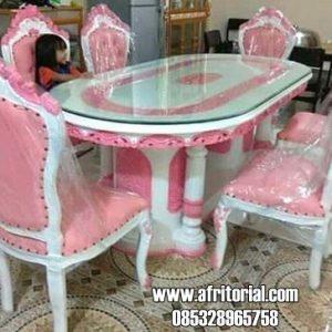Kursi Makan Mewah Ukiran Jepara Cat Duco Putih Pink